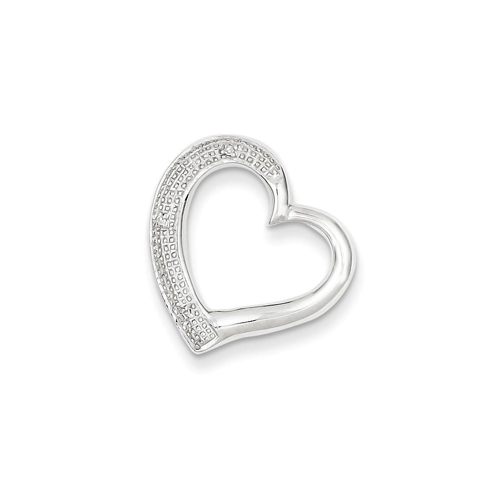 Sterling Silver Rhodium Plated Diamond Heart Pendant Slide