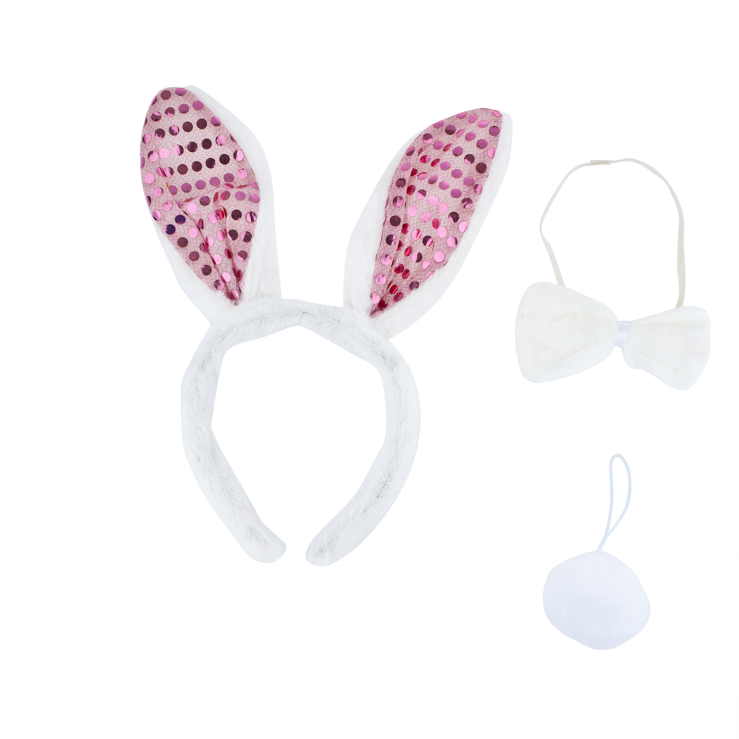 Lux Accessories Adult Easter Bunny Animal Halloween Costume Accessory Set 3pc