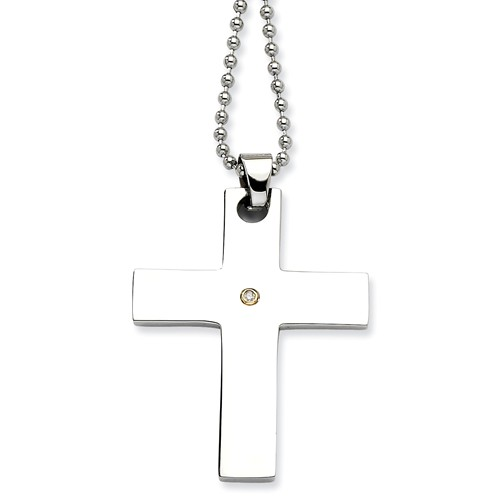 Stainless Steel 14k Gold Engravable w/ Diamond Cross Pendant 22in Necklace.