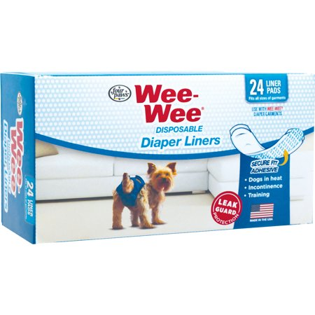 Four Paws Products Ltd-Wee Wee Diaper Garment Pads 24 Pk