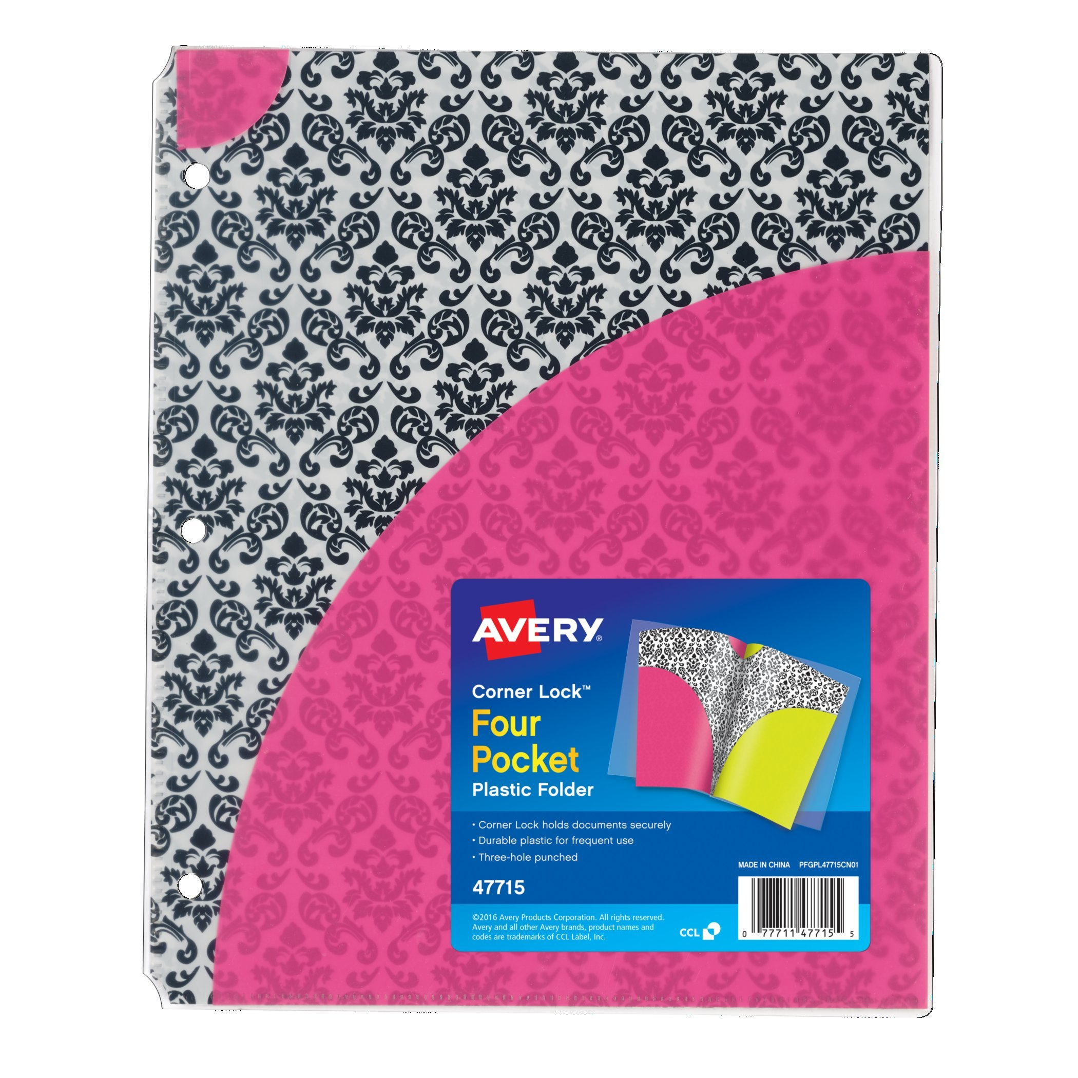 Avery Corner Lock Four-Pocket Plastic Folder 47715, Damask, 1 Folder