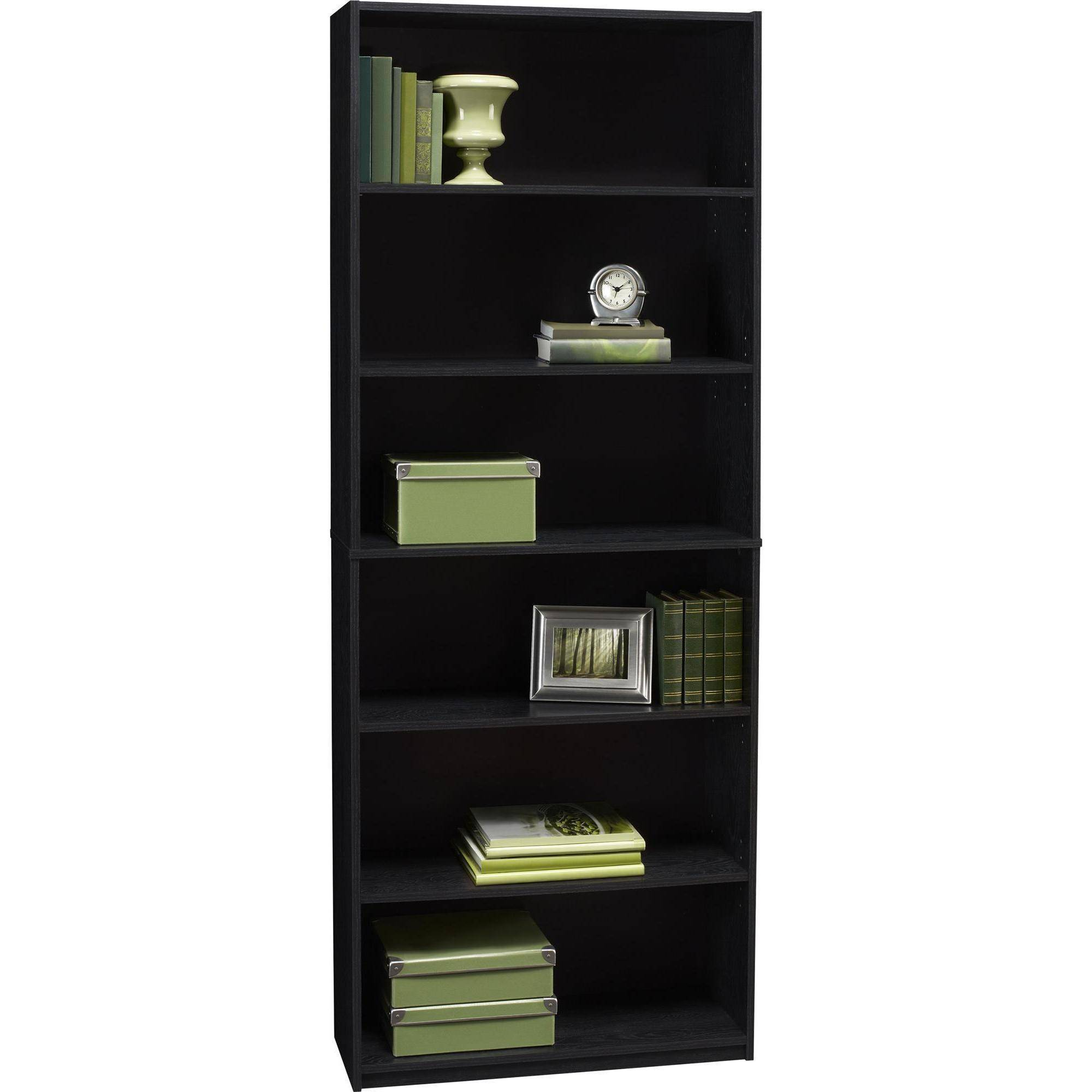 mainstays 6 shelf bookcase black ebony ash walmart
