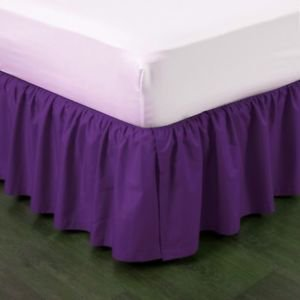 """Cal-King Purple Pleated Dust Ruffled Bed Skirt Bedding Bed Dressing with Split/Open Corners and Easy Fit 14"""" Drop"""