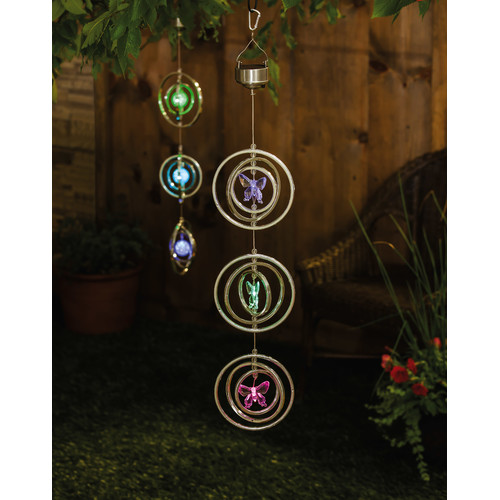 Evergreen Enterprises, Inc Night Garden Butterfly Three Tiered Solar Mobile Spinner