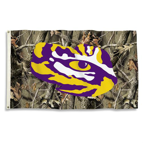 Bsi Products Inc LSU Tigers Flag with Grommets - Realtree Camo Background Flag with Grommets