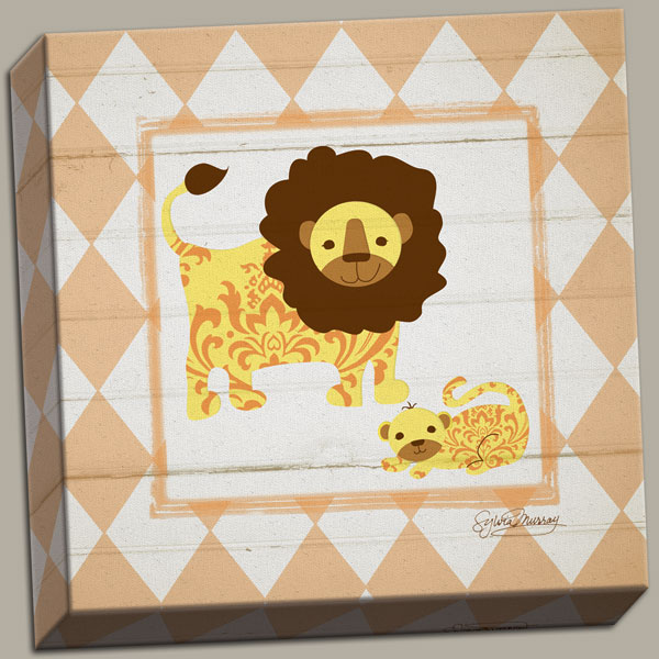 Adorable Lions Art for Children's Room on Stretched Canvas As 12x12
