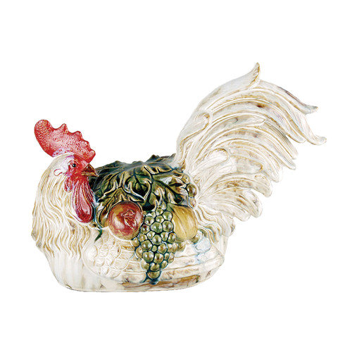 Selectives Rooster with Fruit Figurine
