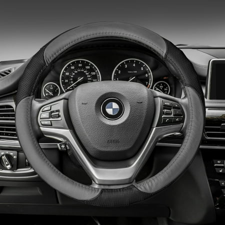 FH GROUP Perforated Genuine Leather Steering Wheel Cover, Gray and Black Bmw Steering Wheel Cover