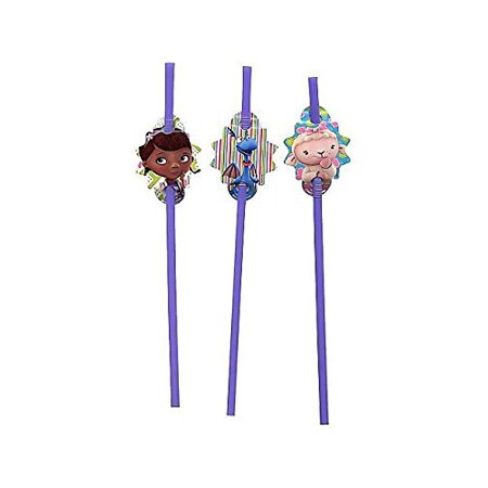 Doc McStuffins Straws (18 Pack) (Doc Mcstuffins Table Cloth)
