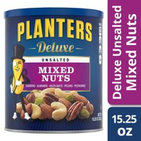 Planters Deluxe Unsalted Mixed Nuts, 15.25 oz Canister