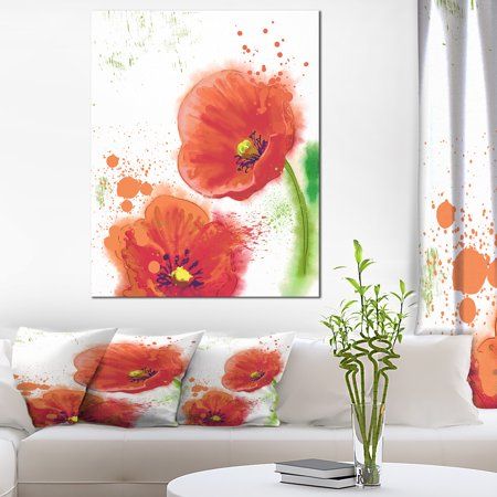 Bloomy Red Tulips Watercolor - Flowers Canvas Wall Artwork - image 4 de 4