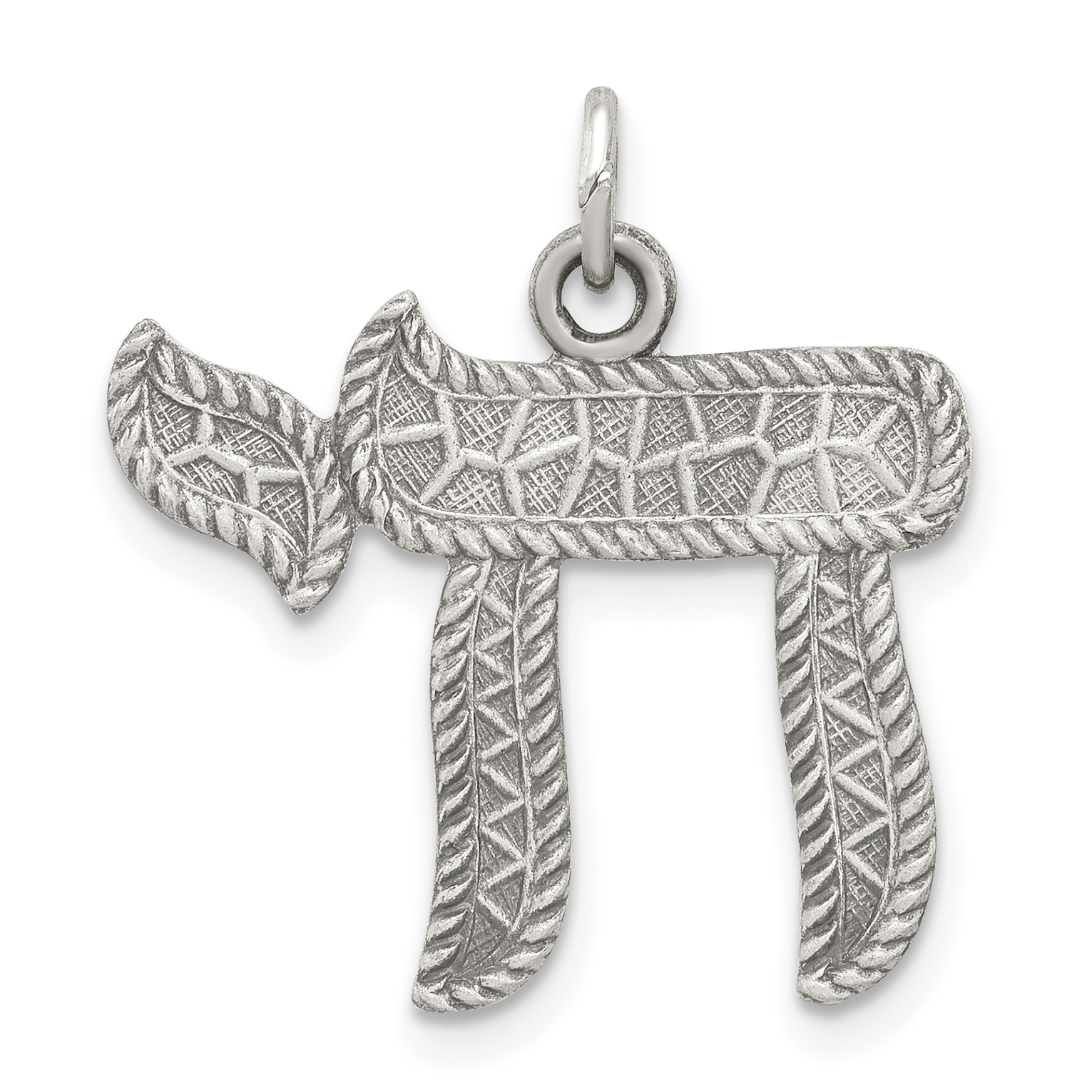 Sterling Silver Antiqued Chai Pendant