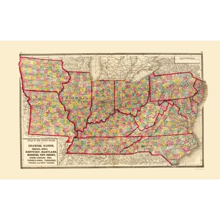Old State Map   Us   Iowa And Missouri   Pennsylvania And N Carolina   Baltimore 1873   23 X 36 33