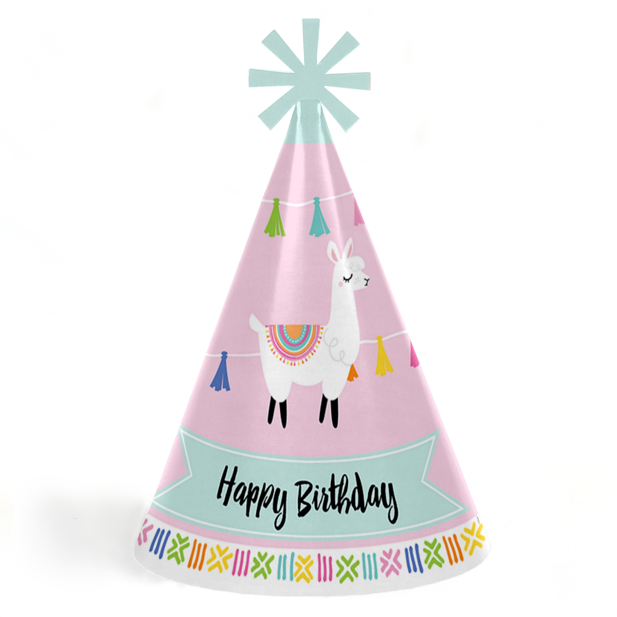 Whole Llama Fun - Cone Happy Birthday Party Hats for Kids and Adults - Set of 8 (Standard Size)