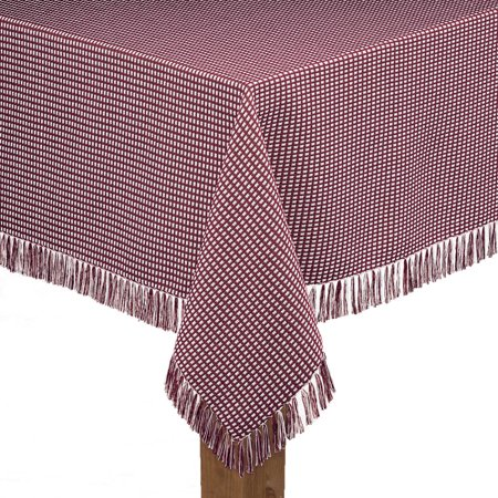 Lintex Buffalo Check Tablecloth (Lintex Linens Homespun Check 100% Cotton Woven Fringed Tablecloth 52