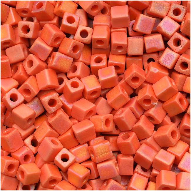 Miyuki 4mm Glass Cube Beads Matte Opaque Bright Orange AB 10 Grams