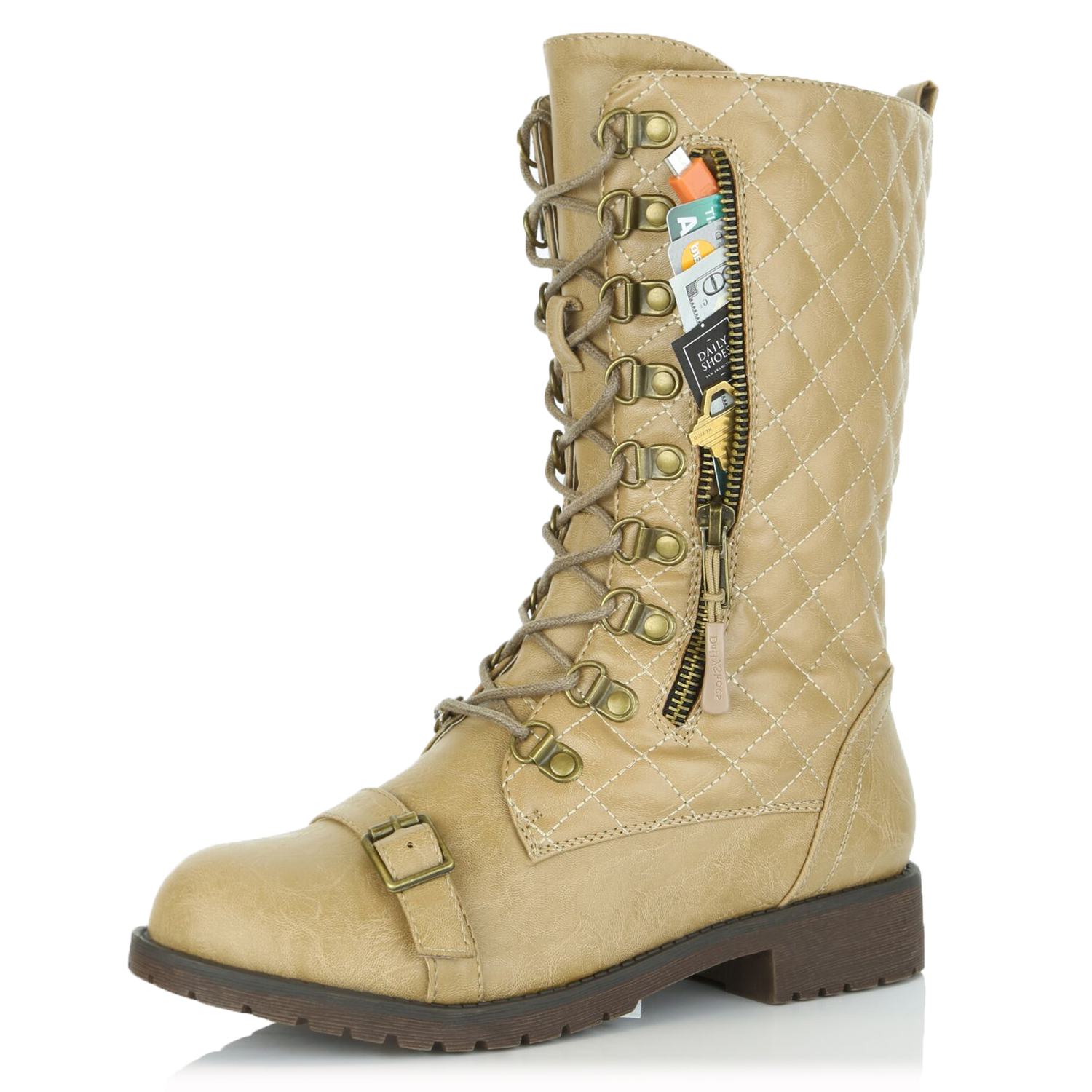 Military Lace Up Buckle Combat Boots Mid Knee High Exclusive Credit Card Pocket
