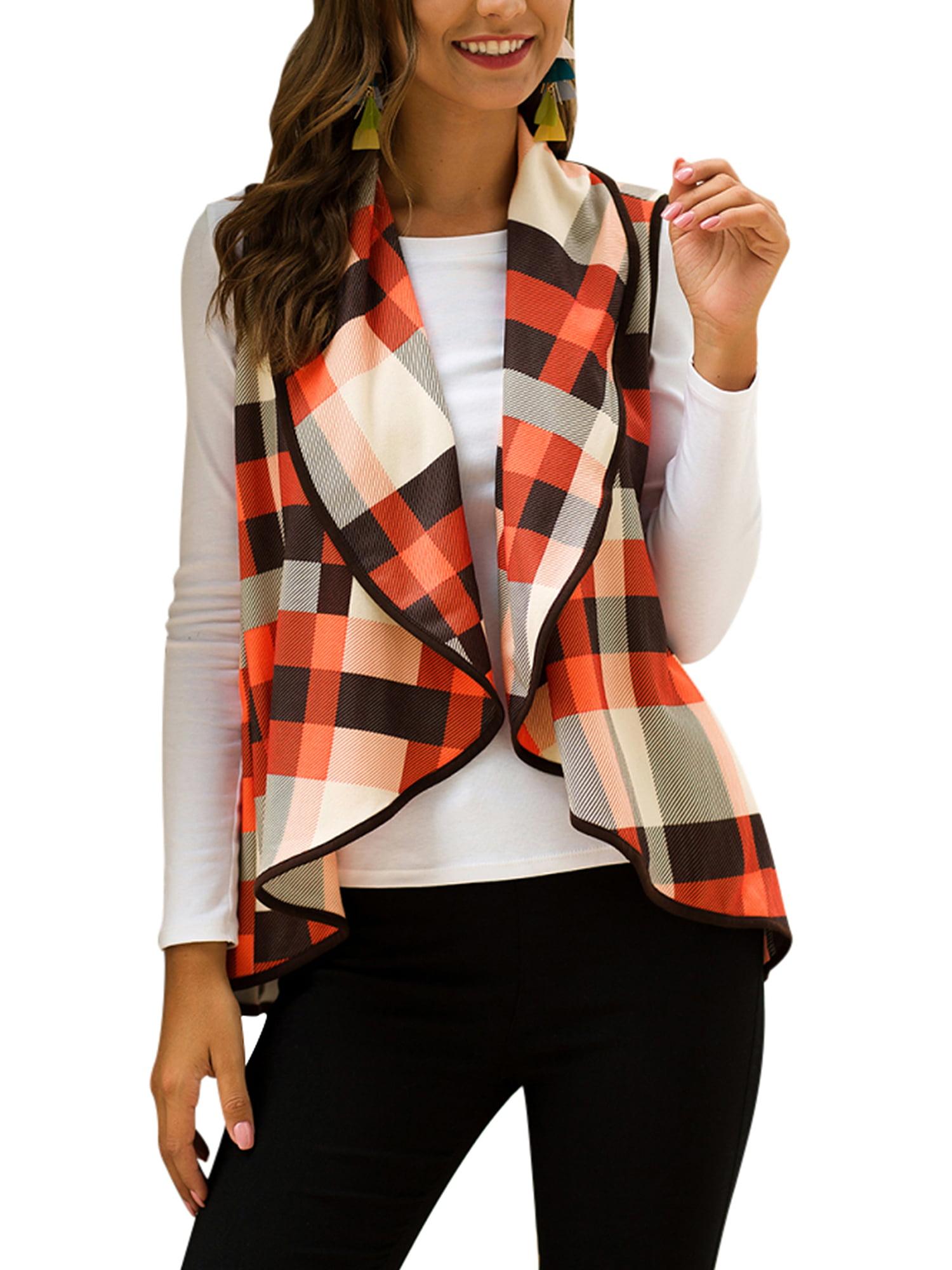 E-Scenery Plaid Vest Cardigan Womens Open Front Color Block Lapel Sleeveless Tops Pockets