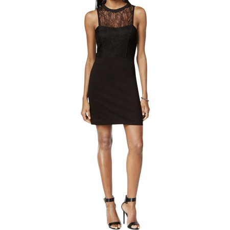 Sanctuary Womens Cassidy Lace Trim Fitted Cocktail Dress Black S