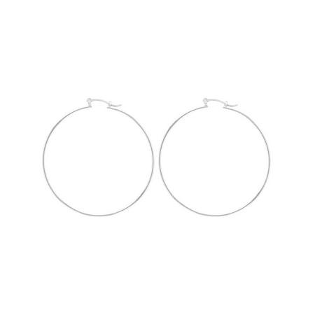 Silver Plated Large Jumbo Plain Hoop Womens Earrings 65mm