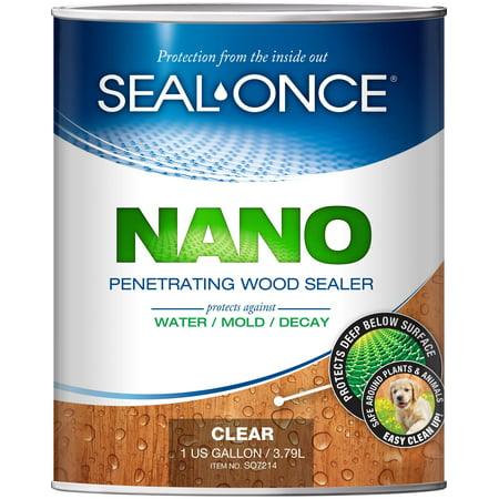 SEAL-ONCE NANO Penetrating Wood Sealer & Stain - 1 Quart. Water-based, Ultra-low-VOC waterproofer for fences, siding, beams, outdoor furniture & log homes. ()
