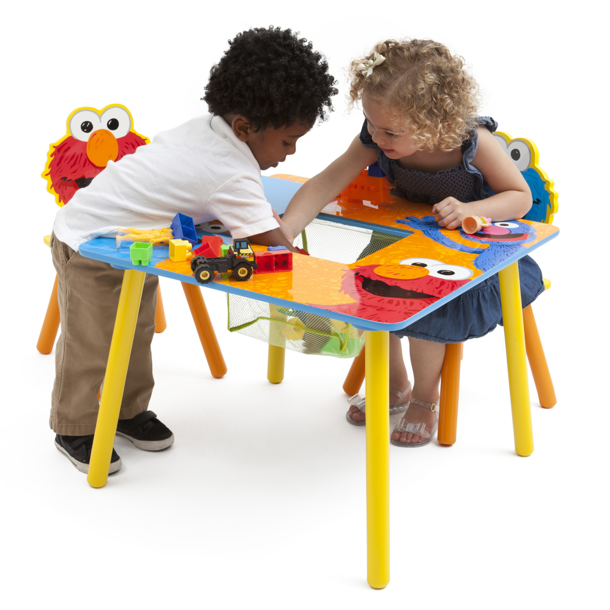 Sesame Street Wood Kids Storage Table And Chairs Set By