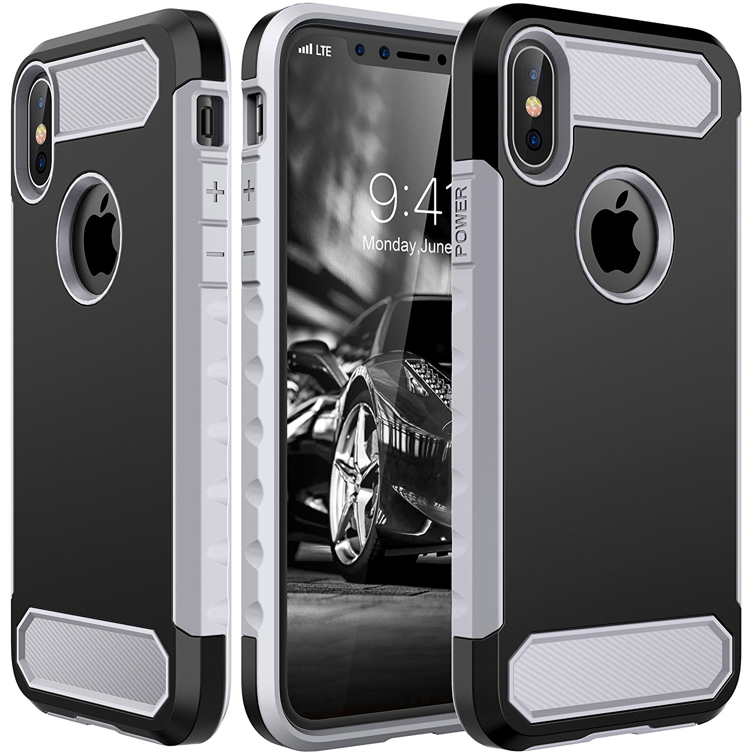 iPhone X Case, E LV iPhone X Defender Case - Hybrid Shock-Absorption Full Body Protective Case Cover for Apple iPhone X - BLACK