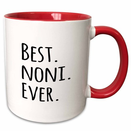 3dRose Best Noni Ever - Gifts for Grandmothers - Grandma nicknames - black text - family gifts - Two Tone Red Mug,