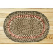 Earth Rugs C-09 Green / Burgundy Oval Braided Rug 8 Feet x 11 Feet
