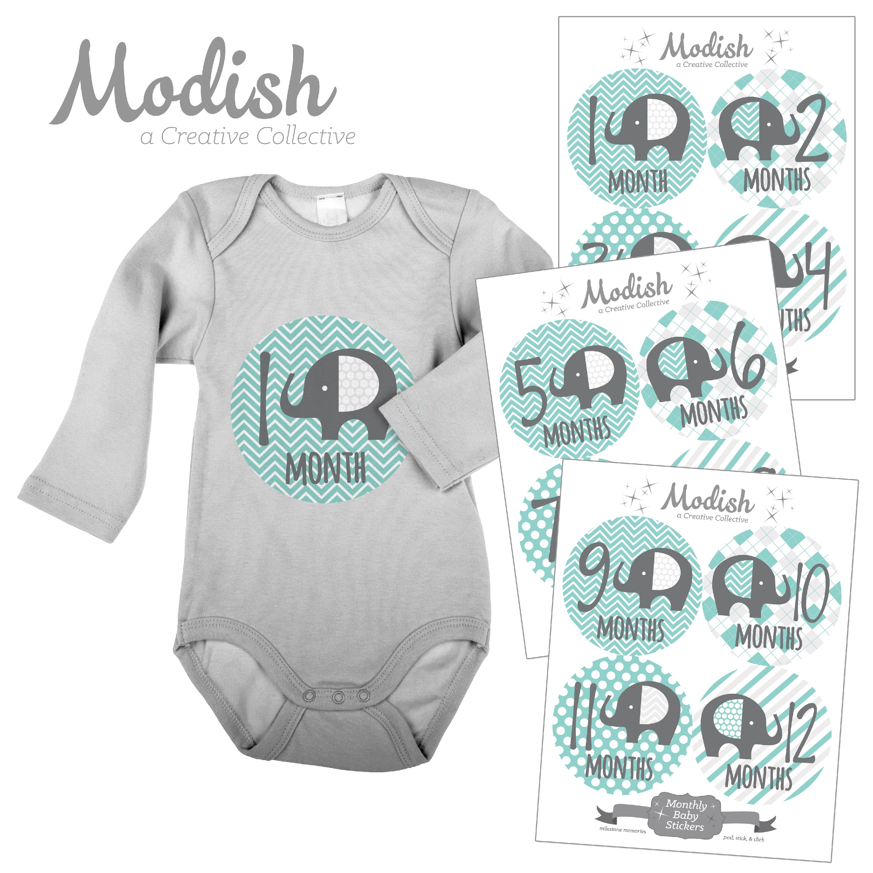 Modish Monthly Baby Stickers, Neutral, Boy, Girl, Elephant, Mint, Gray, Baby Photo Prop, Baby Shower Gift, Baby Book Keepsake