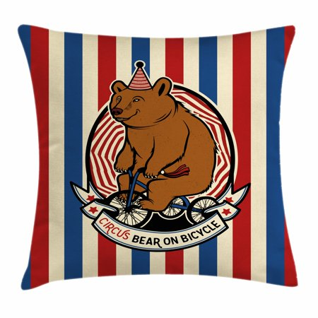 Mascot Multi Stripes (Bear Throw Pillow Cushion Cover, Circus Bear on Bicycle Carnival Theme Cute Mascot with Hat on Striped Backdrop, Decorative Square Accent Pillow Case, 18 X 18 Inches, Ruby Blue Brown, by Ambesonne )