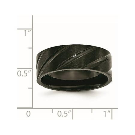 JbSP- Titanium Swirl Design Black IP-plated 8mm Brushed/Polished Band - image 4 de 6