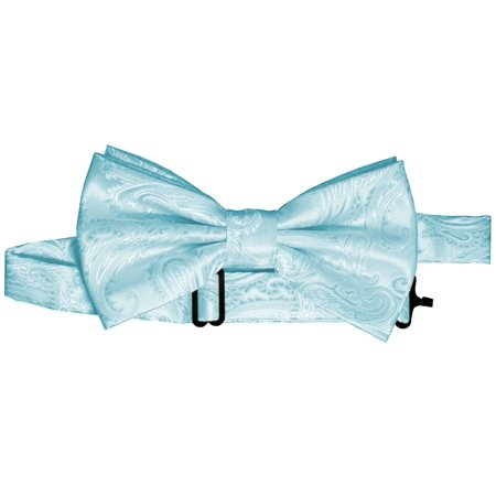 Paisley Pre-Tied Bow-Tie - Aqua](Green Machines For Adults)