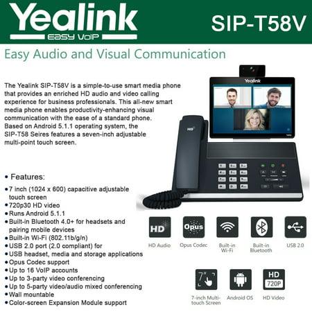 Yealink SIP-T58V Video Phone HD Audio USB 2.0 Opus Codec Dual Band Wi-Fi