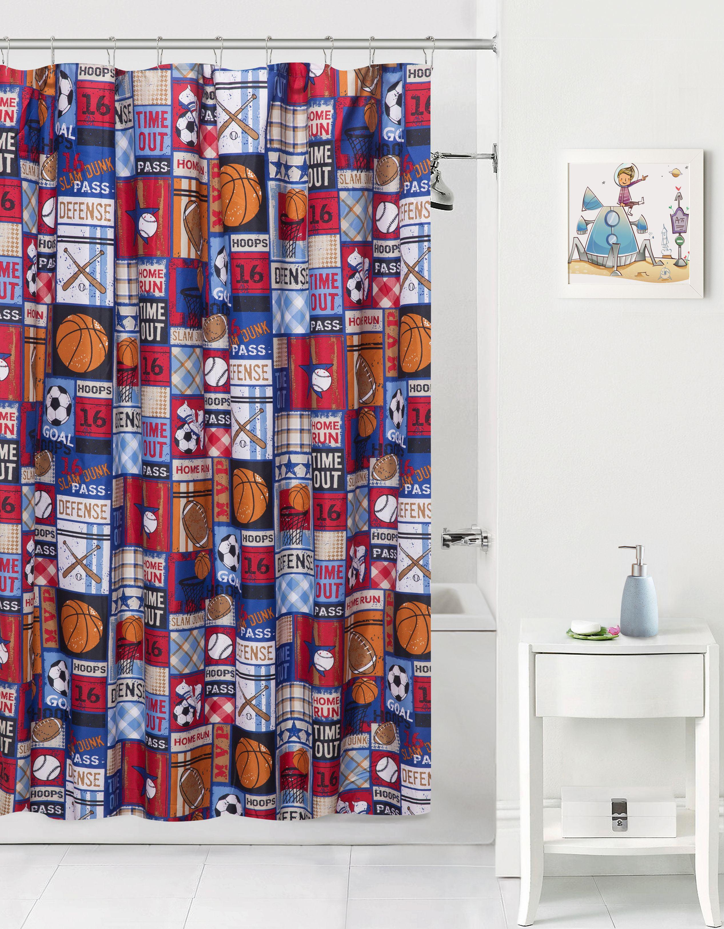 Sports Patch Theme Fabric Shower Curtain Kids Boys Bath Blue Soccer
