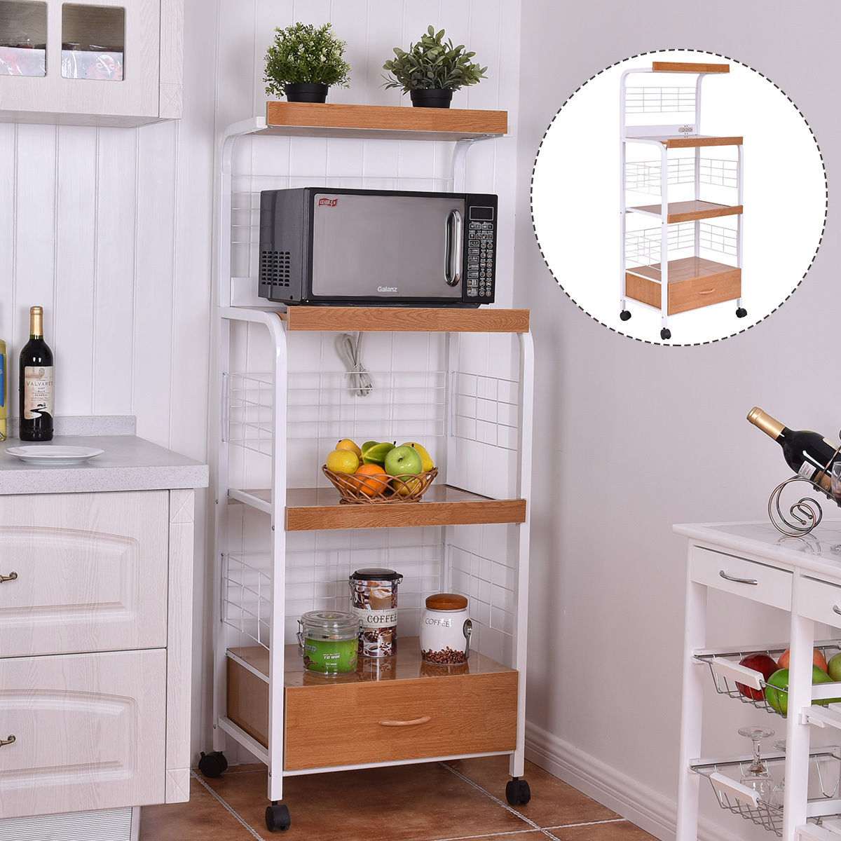 Costway 62u0027u0027 Bakers Rack Microwave Stand Rolling Kitchen Storage Cart  W/Electric Outlet