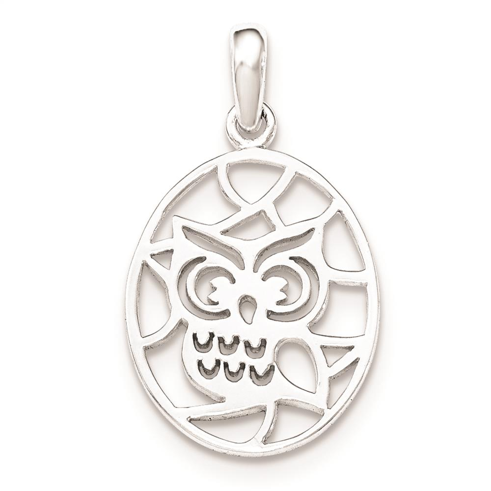 925 Sterling Silver Cut-Out Owl Polished Flat-back Charm Pendant