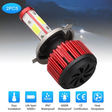 H4 LED Headlight Bulbs 6500K Xenon White High Beam/Low Beam/Fog Light 8000LM 4 Side COB Chips Super Bright 360 Degree Auto Headlamp All-in-One Conversion Kit Plug &