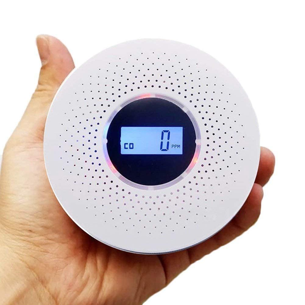 2 in 1 Carbon Monoxide Smoke Alarm Smoke Fire Sensor Alarm CO Carbon Monoxide Detector Sound Combo Sensor Tester Battery Operated with Digital Display for CO Level