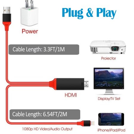 Lightning To Hdmi Cable 6 6ft 1080p Video Av