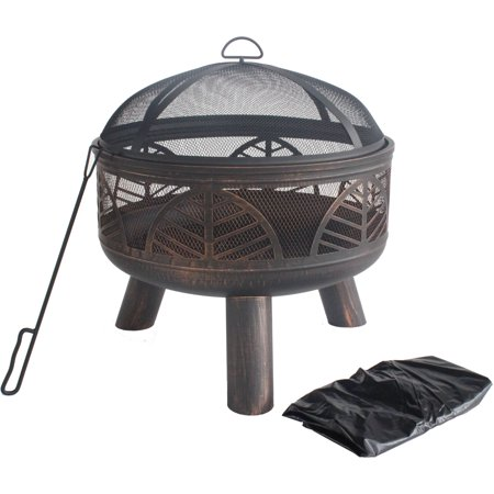 """24"""" Round Steel Fire Pit with PVC Cover, Antique Bronze ..."""