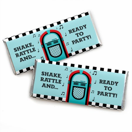 50's Sock Hop - Candy Bar Wrapper 1950s Rock N Roll Party Favors - Set of - Sock Hop Outfit Ideas