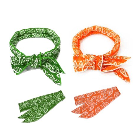 Cotton Neck Scarf (2 Pcs, The Elixir Sports Neck Cooling Scarf Wrap, Keep you Cool Bandana (Green, Orange) )
