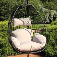 Sunnydaze Delaney Hanging Egg Chair with Seat Cushions - 50-Inch