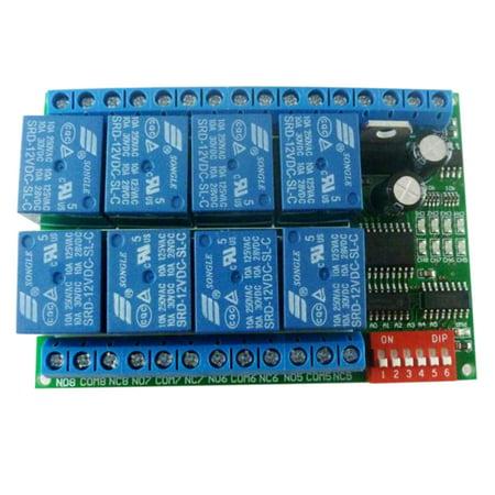 Serial Port Control (12V 8CH RS485 Relay Modbus RTU Protocol Serial Port Remote Control Switch for PLC Control Board)