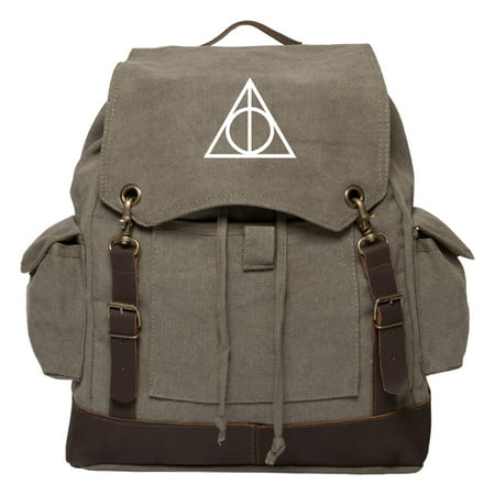 Deathly Hallows Harry Potter Vintage Canvas Rucksack Backpack w/ Leather