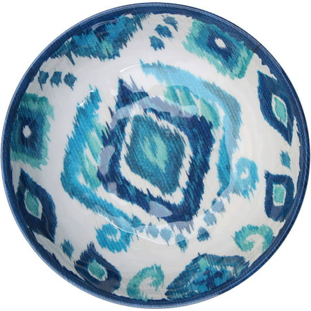 Better Homes & Gardens Outdoor Melamine Ikat Serve Bowl, Blue, Set of 2 Blue All Purpose Bowl
