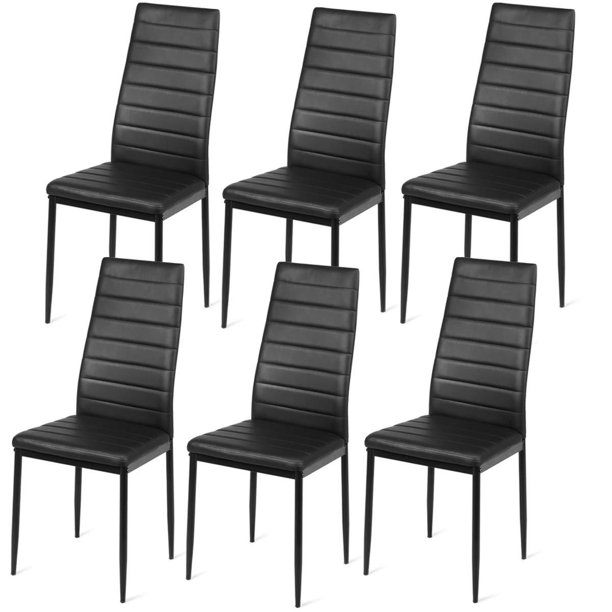 UBesGoo 6pcs PU Leather Dining Side Chairs Dining Room Tables Elegant Design Home Furniture Black