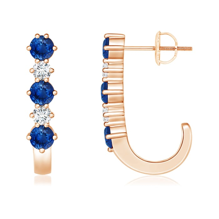 Angara Diamond and Blue Sapphire J-Hoop Earrings in Platinum 2jBTw