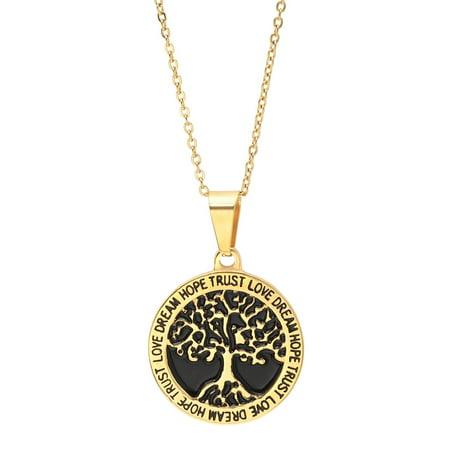 Life Love Pendant - Ben&JonahLadies 18k gold plated stainless steel HOPE TRUST LOVE DREAM tree of life pendant